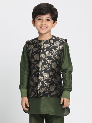 Black Printed Silk Blend Boys-Nehru-Jacket