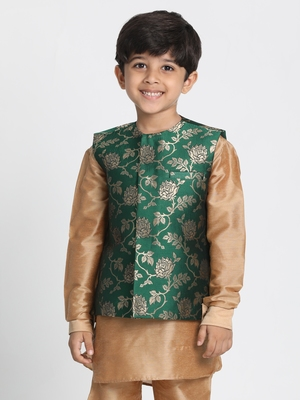 Green Printed Silk Blend Boys-Nehru-Jacket