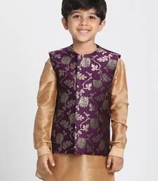 Purple Printed Silk Blend Boys-Nehru-Jacket
