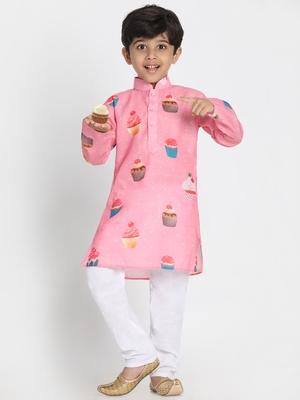 Pink printed silk blend boys-kurta-pyjama