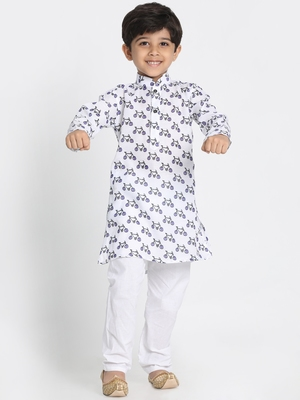 White printed silk blend boys-kurta-pyjama