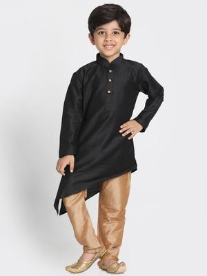 Black printed silk blend boys-kurta-pyjama