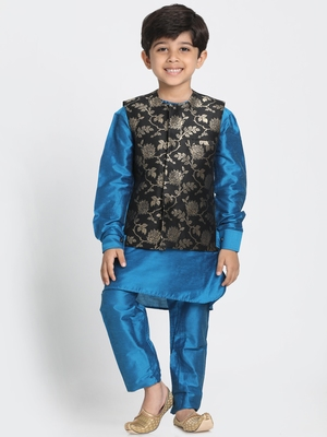 Turquoise printed cotton silk boys-kurta-pyjama