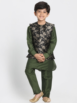 Green Printed Cotton Silk Boys-Kurta-Pyjama