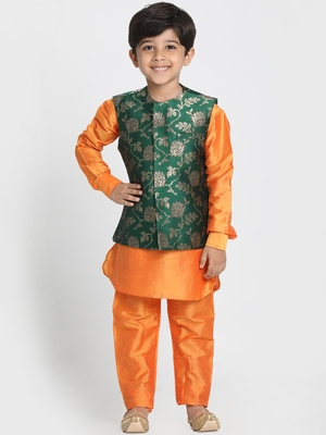 Orange printed cotton silk boys-kurta-pyjama