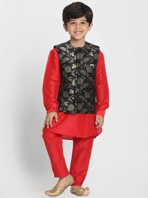 Red Printed Cotton Silk Boys Kurta Pyjama