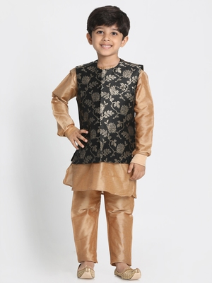 Gold Printed Cotton Silk Boys-Kurta-Pyjama