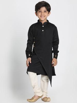 Black printed cotton boys-kurta-pyjama