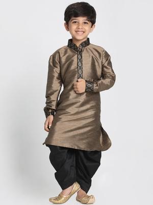 Black Printed Cotton Silk Boys-Kurta-Pyjama