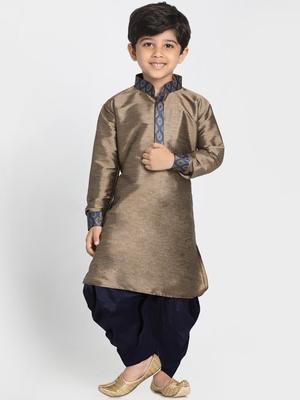 Gold Printed Cotton Silk Boys-Kurta-Pyjama