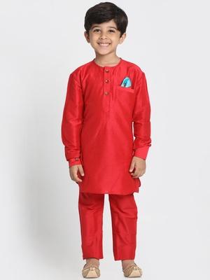 Red printed cotton silk boys-kurta-pyjama