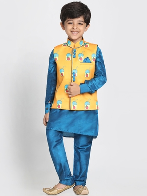 Turquoise Printed Cotton Silk Boys Kurta Pyjama