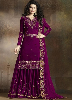 Purple embroidered art silk salwar