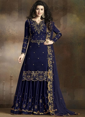 Blue embroidered art silk salwar