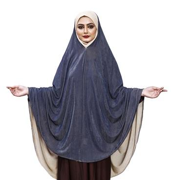 Justkartit Cream Blue Shade Plain Long Stitched Women Prayer Hijab Abaya