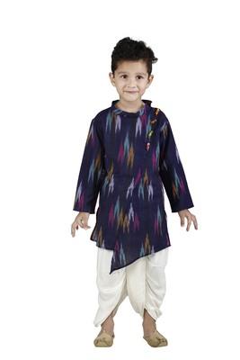 Blue printed cotton boys-dhoti-kurta