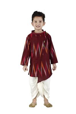 Maroon printed cotton boys-dhoti-kurta
