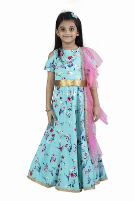 Green printed crepe kids-girl-gowns