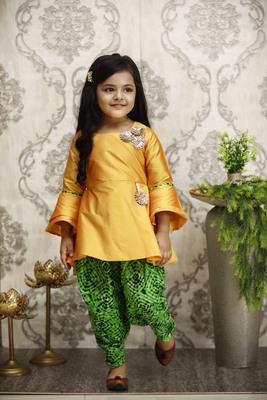 Yellow printed silk girls-top-bottom