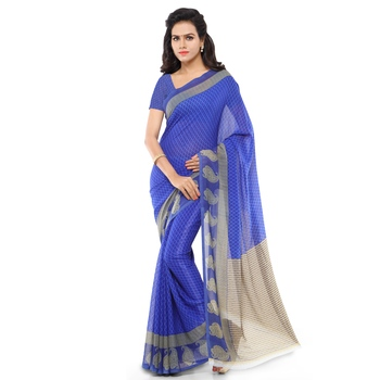 Royal blue printed georgette saree with blouse