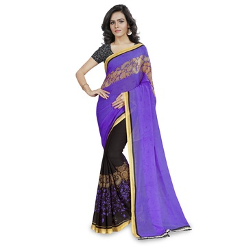 Purple printed georgette saree with blouse