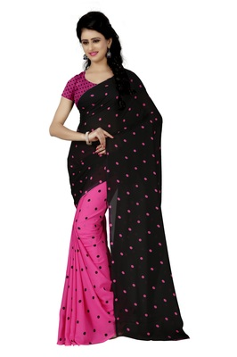 Rani pink printed georgette saree with blouse
