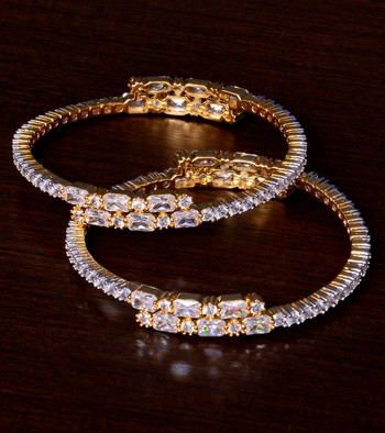White Gold Plated AAA CZ Stone Embellished Designer Bangles BD402