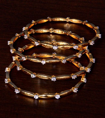 White Gold Plated AAA CZ Stone Embellished Two Pairs of Designer Bangles BD406