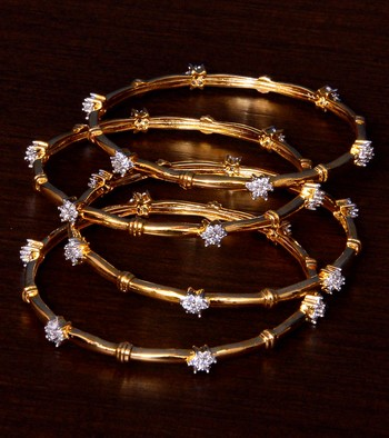 White Gold Plated AAA CZ Stone Embellished Two Pairs of Designer Bangles BD407