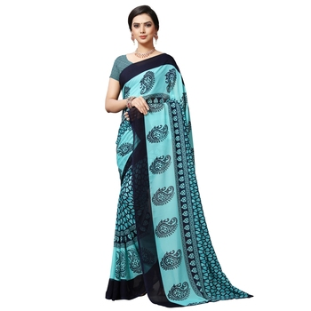 Blue printed georgette saree with blouse