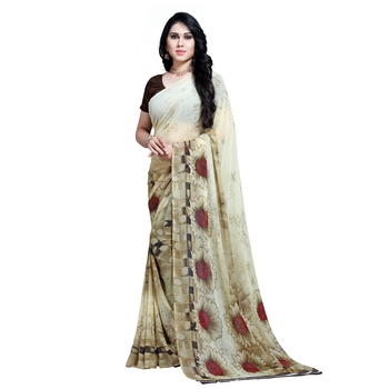 Off white printed georgette saree with blouse