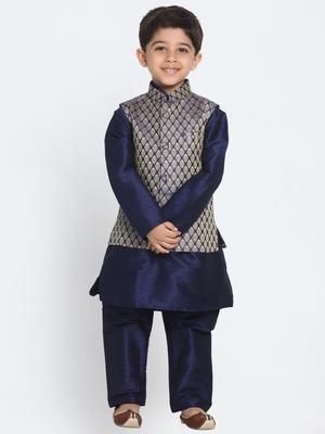Blue Printed Cotton Silk Boys Kurta Pyjama