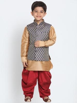 Boys Rose gold cotton silk boys-kurta-pyjama