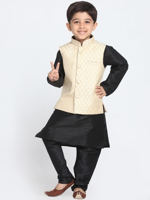 Black Printed Cotton Silk Boys Kurta Pyjama