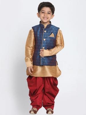 Gold Printed Cotton Silk Boys Kurta Pyjama