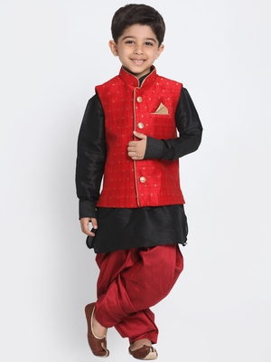 Black printed cotton silk boys-kurta-pyjama