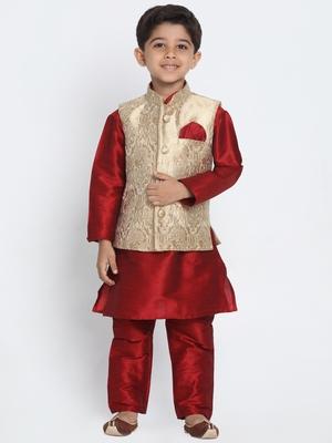 Maroon Printed Cotton Silk Boys Kurta Pyjama