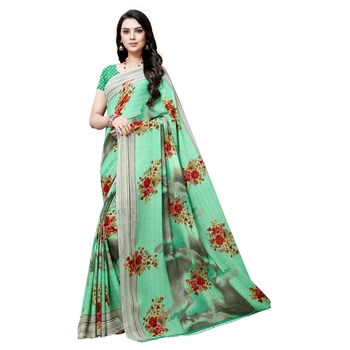 Light sea green printed georgette saree with blouse