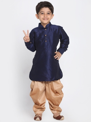 Blue Printed Silk Blend Boys Dhoti Kurta