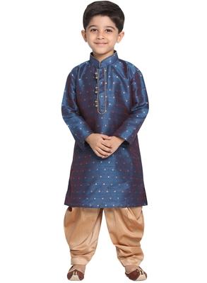 Blue Printed Cotton Silk Boys Dhoti Kurta