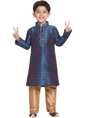 Blue Printed Cotton Silk Boys-Kurta-Pyjama