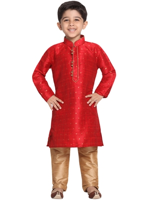 Maroon Printed Cotton Silk Boys-Kurta-Pyjama
