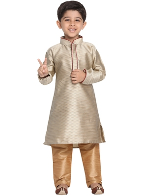 Beige Printed Cotton Silk Boys-Kurta-Pyjama
