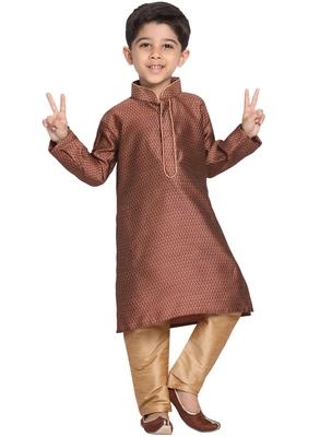 Maroon Printed Cotton Silk Boys-Kurta-Pyjama