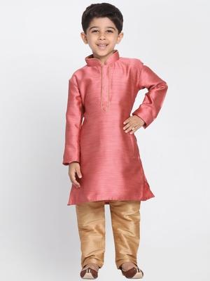 Pink printed cotton silk boys-kurta-pyjama