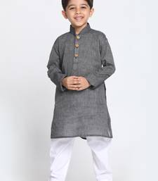 Black Printed Cotton Boys-Kurta-Pyjama