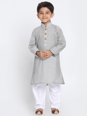 Grey Printed Cotton Boys-Kurta-Pyjama