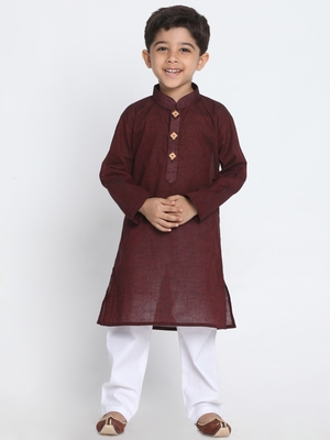 Maroon printed cotton boys-kurta-pyjama