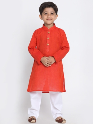 Red Printed Cotton Boys-Kurta-Pyjama