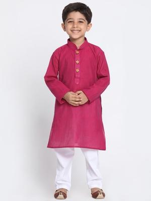 Purple Printed Cotton Boys-Kurta-Pyjama